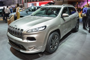 GENEVA SWITZERLAND - MARCH 4: Jeep Cherokee on display during the Geneva Motor Show Geneva Switzerland March 4 2014.