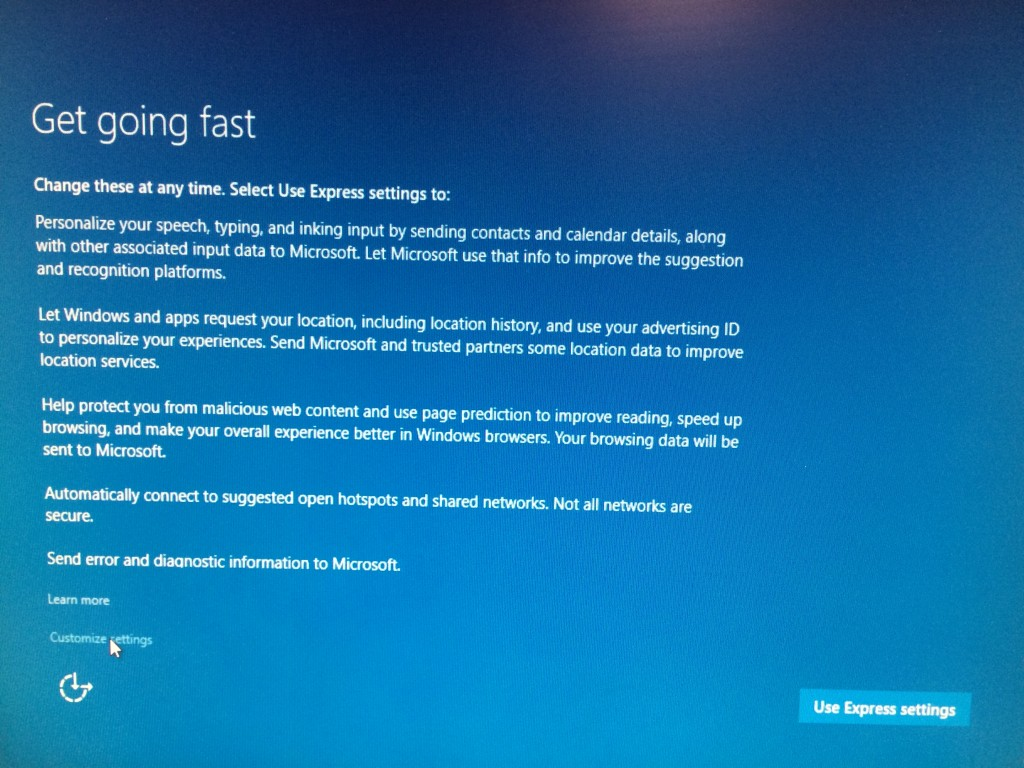 Windows 10 Installation Screen