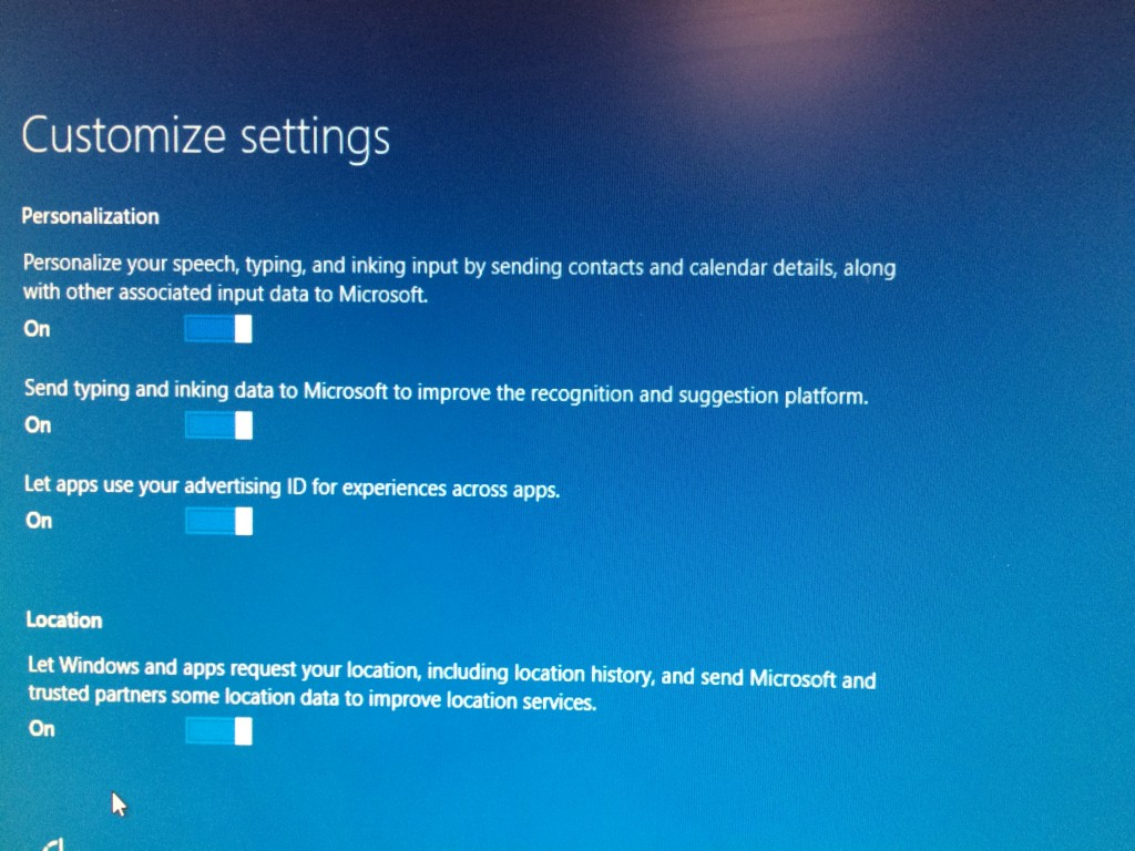 Customize Options for Windows 10 Install