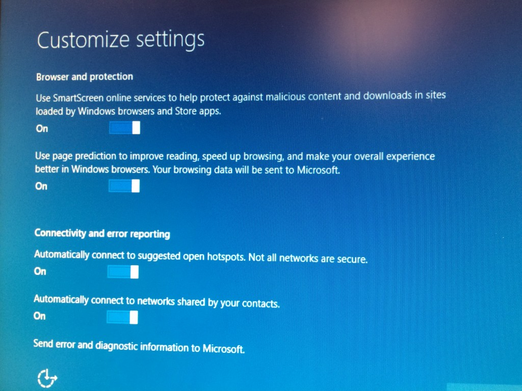 Another Windows 10 Customize Settings Installation Screen