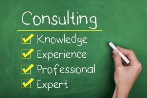 Consulting concept with knowledge experience professional expert words on chalkboard